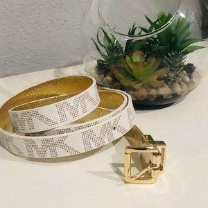"""Michael Kors 1"""" White / Gold Belt"""